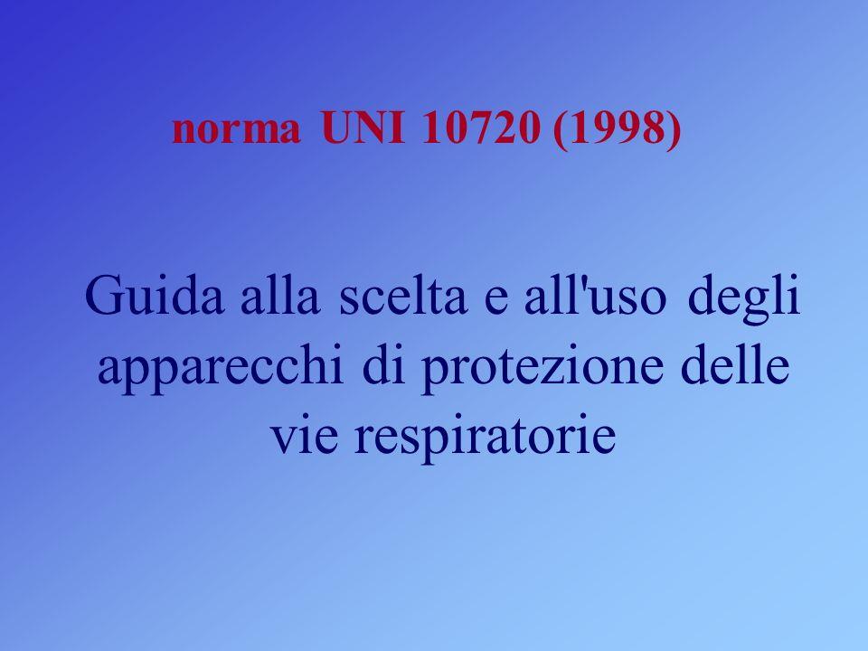 norma UNI 10720 (1998) Guida alla scelta e all uso degli apparecchi di protezione delle vie respiratorie