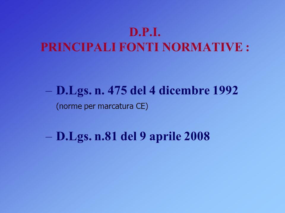 D.P.I. PRINCIPALI FONTI NORMATIVE :
