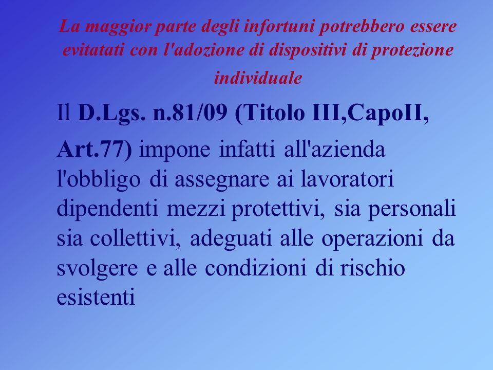 Il D.Lgs. n.81/09 (Titolo III,CapoII,