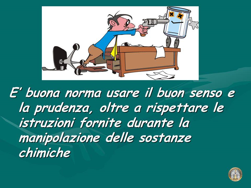 E' buona norma usare il buon senso e la prudenza, oltre a rispettare le istruzioni fornite durante la manipolazione delle sostanze chimiche
