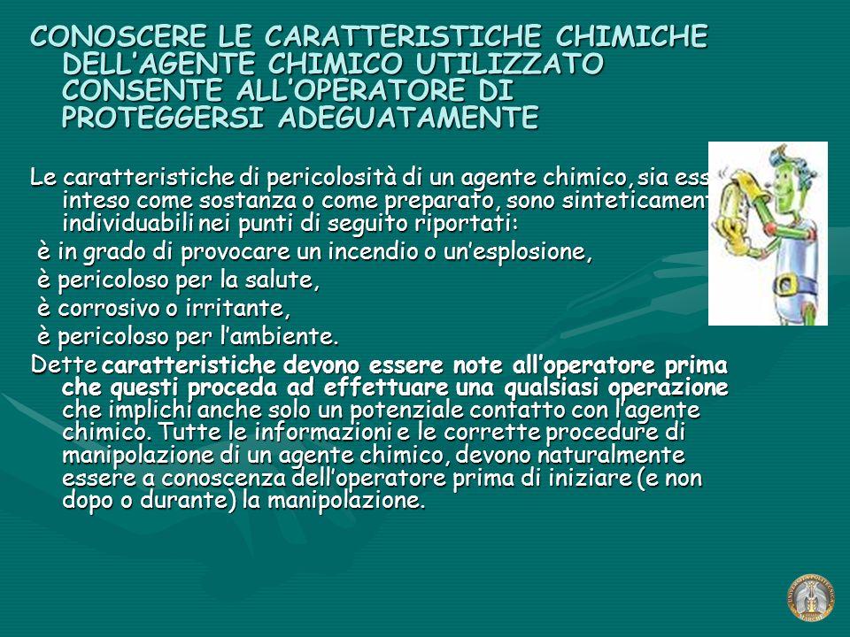 CONOSCERE LE CARATTERISTICHE CHIMICHE DELL'AGENTE CHIMICO UTILIZZATO CONSENTE ALL'OPERATORE DI PROTEGGERSI ADEGUATAMENTE