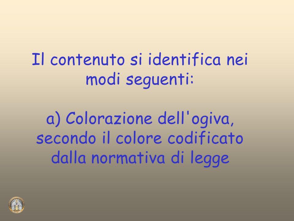 Il contenuto si identifica nei modi seguenti: a) Colorazione dell ogiva, secondo il colore codificato dalla normativa di legge