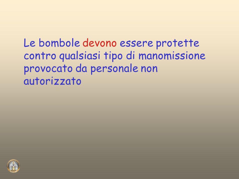 Le bombole devono essere protette contro qualsiasi tipo di manomissione provocato da personale non autorizzato