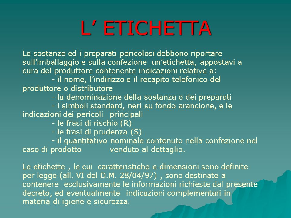 L' ETICHETTA