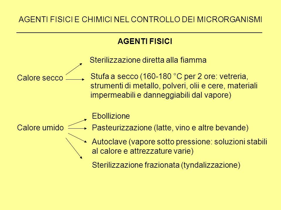 AGENTI FISICI E CHIMICI NEL CONTROLLO DEI MICRORGANISMI