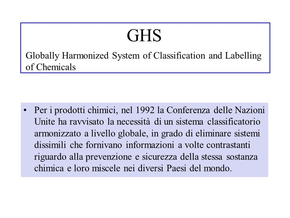 GHS Globally Harmonized System of Classification and Labelling of Chemicals.