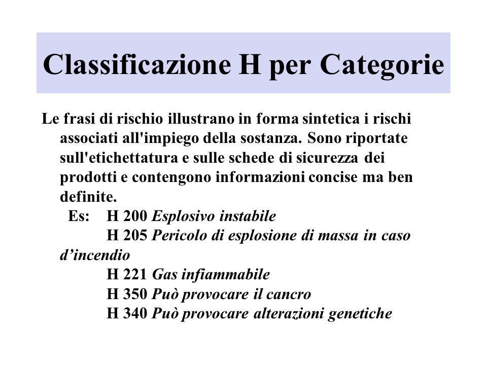 Classificazione H per Categorie