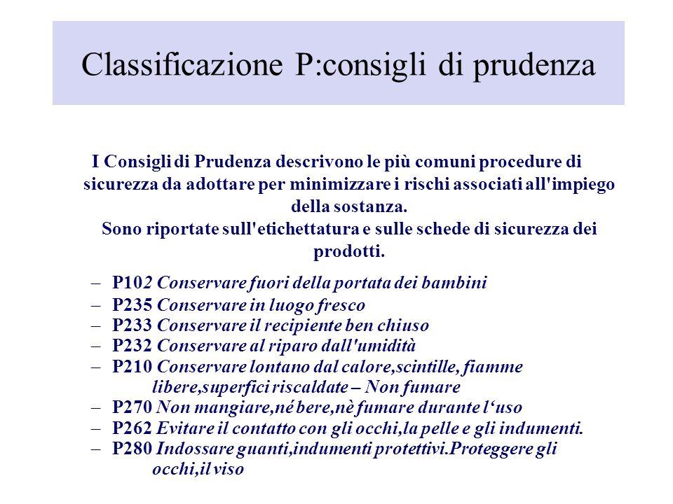 Classificazione P:consigli di prudenza