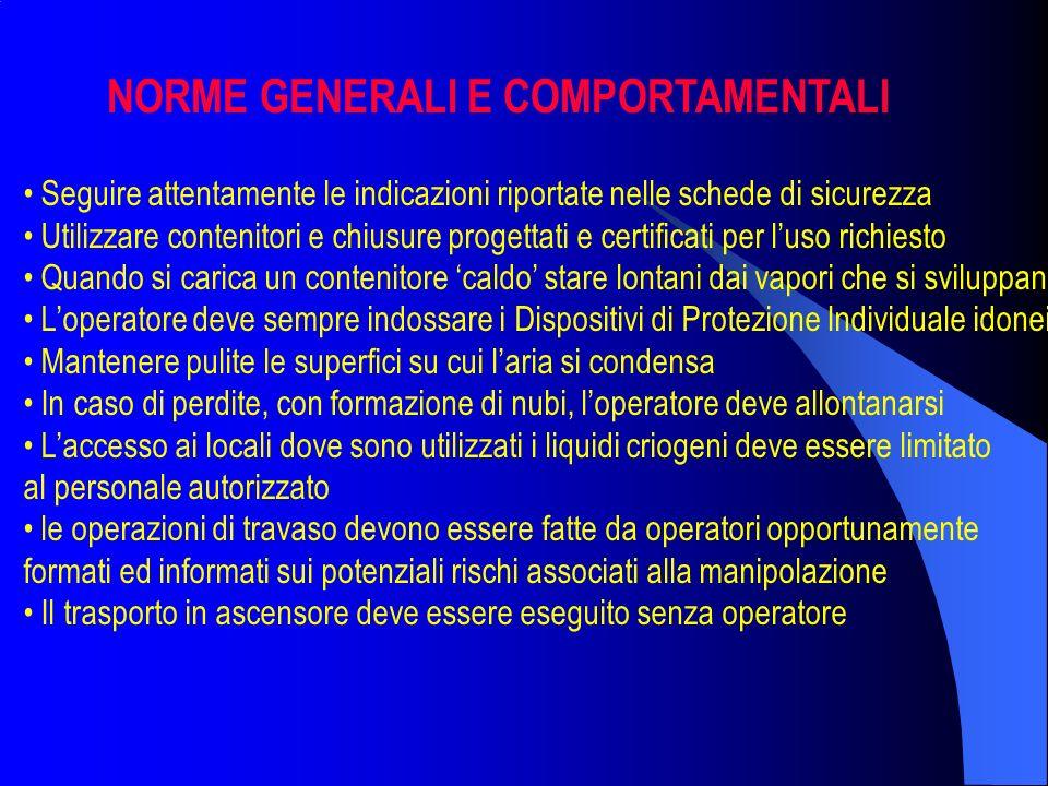 NORME GENERALI E COMPORTAMENTALI