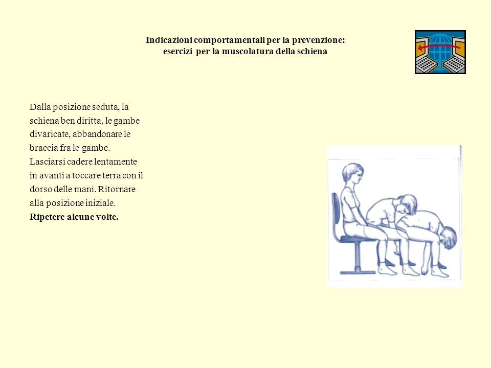Indicazioni comportamentali per la prevenzione: esercizi per la muscolatura della schiena