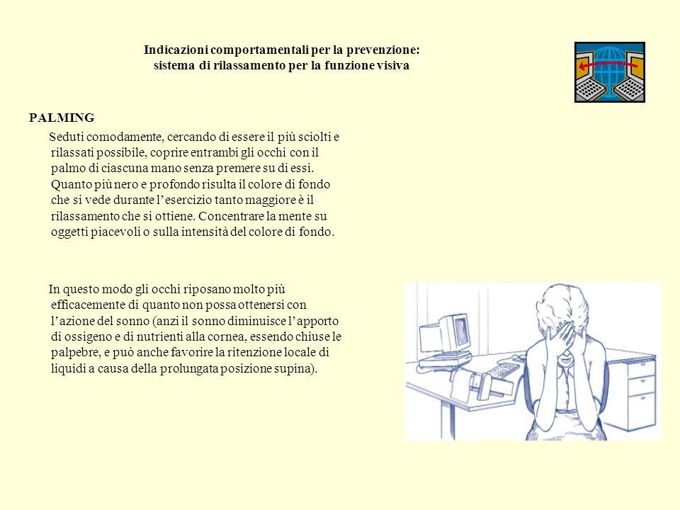 Indicazioni comportamentali per la prevenzione: sistema di rilassamento per la funzione visiva