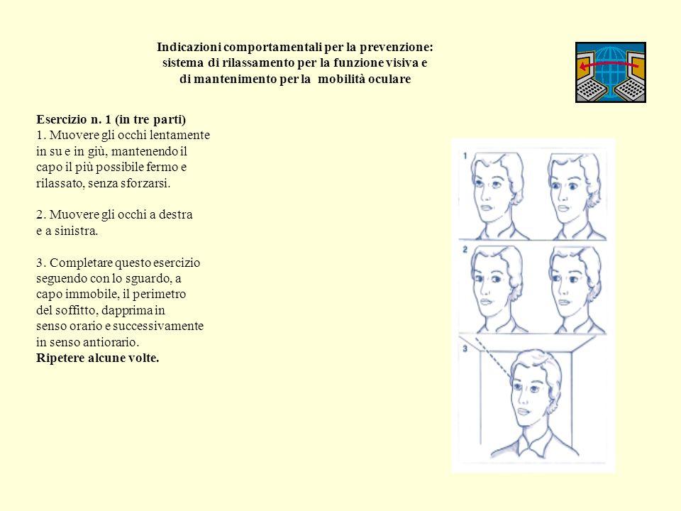 Indicazioni comportamentali per la prevenzione: sistema di rilassamento per la funzione visiva e di mantenimento per la mobilità oculare