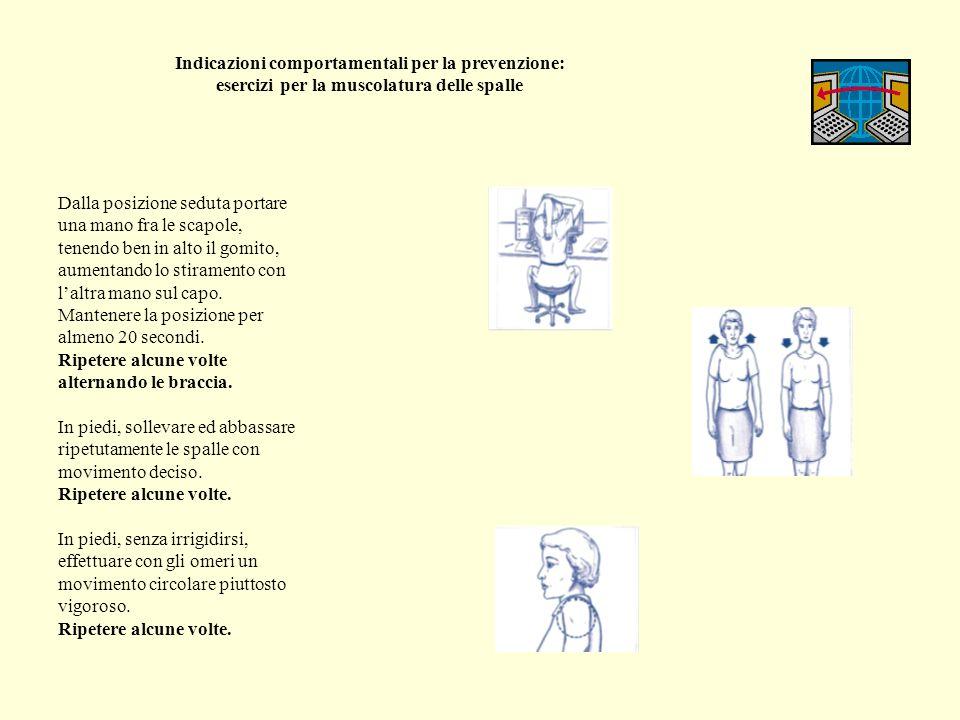 Indicazioni comportamentali per la prevenzione: esercizi per la muscolatura delle spalle