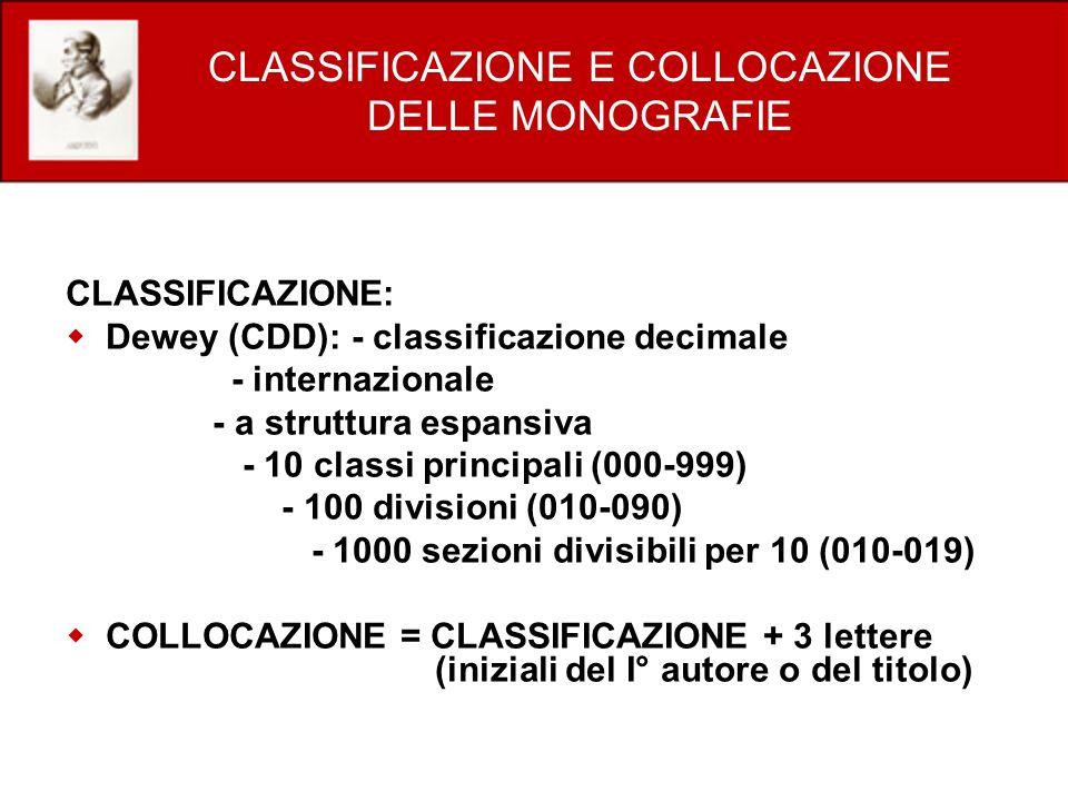 CLASSIFICAZIONE E COLLOCAZIONE DELLE MONOGRAFIE
