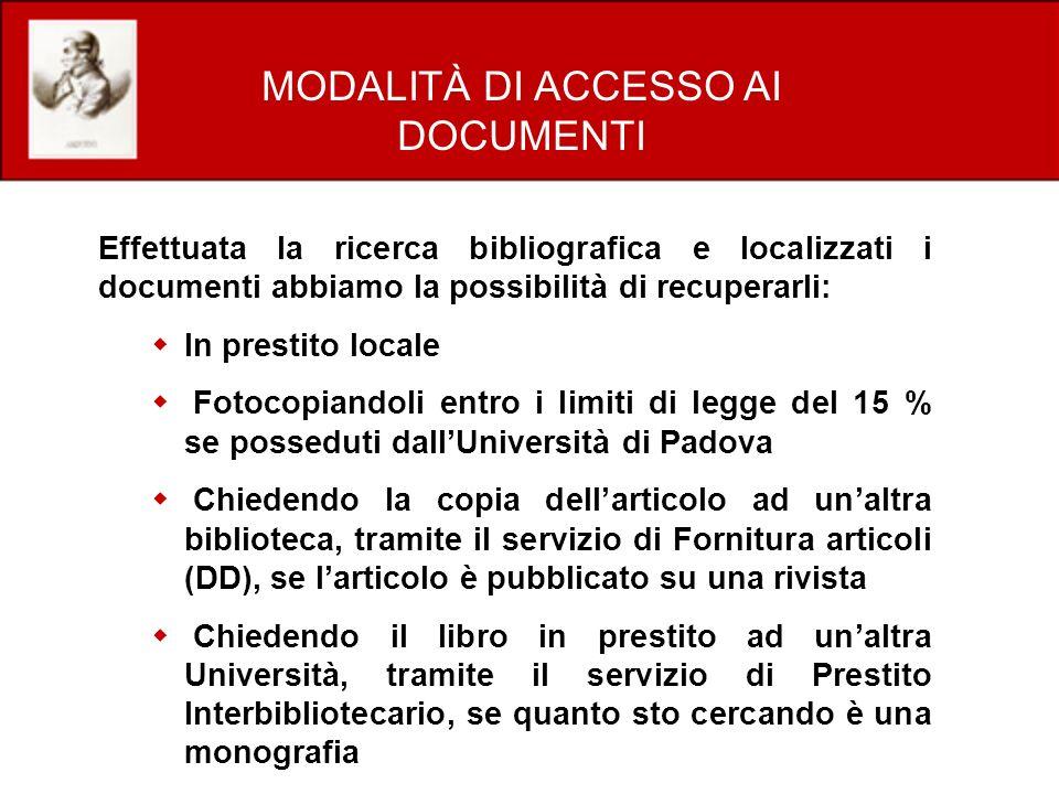 MODALITÀ DI ACCESSO AI DOCUMENTI