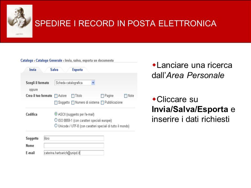 SPEDIRE I RECORD IN POSTA ELETTRONICA