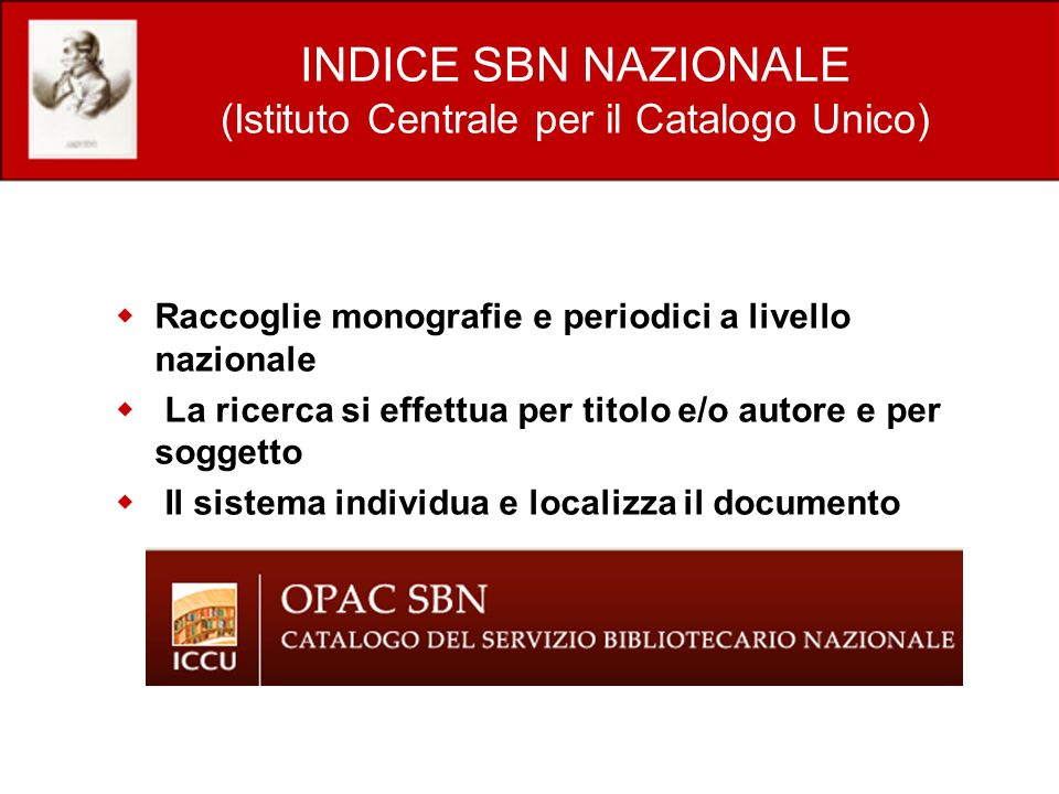 INDICE SBN NAZIONALE (Istituto Centrale per il Catalogo Unico)