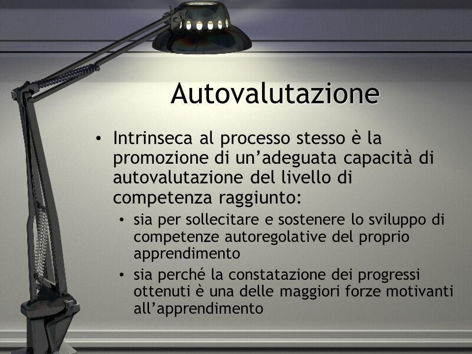 AutovalutazioneIntrinseca al processo stesso è la promozione di un'adeguata capacità di autovalutazione del livello di competenza raggiunto: