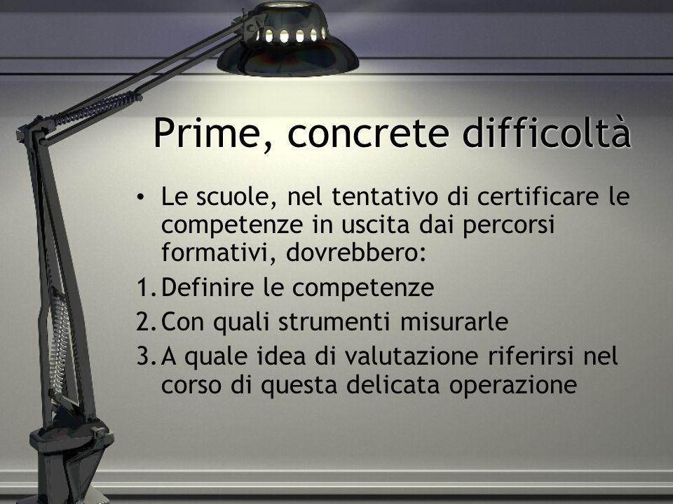 Prime, concrete difficoltà