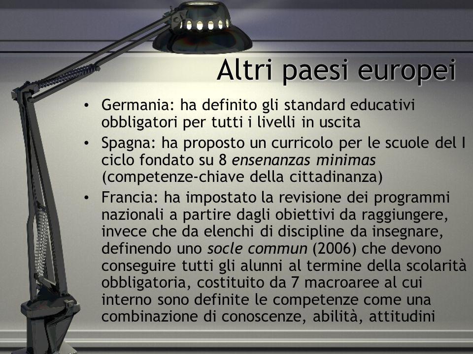 Altri paesi europei Germania: ha definito gli standard educativi obbligatori per tutti i livelli in uscita.