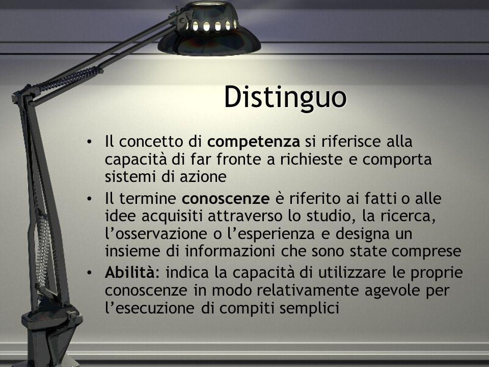 DistinguoIl concetto di competenza si riferisce alla capacità di far fronte a richieste e comporta sistemi di azione.