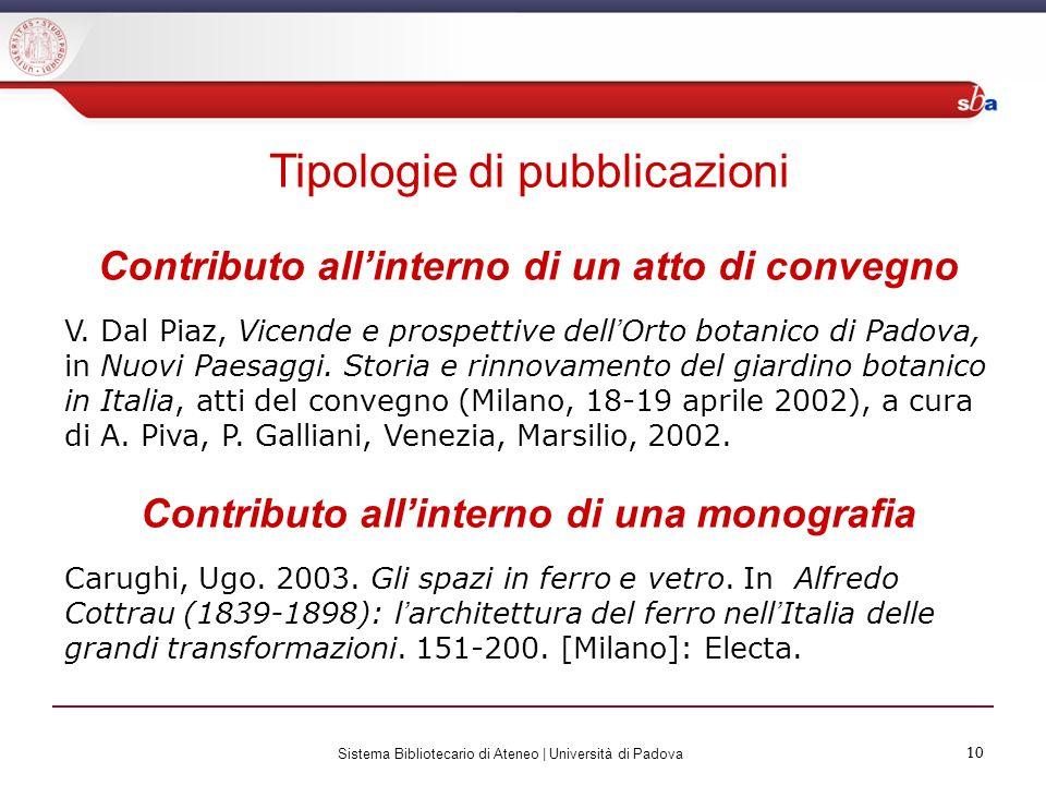 Tipologie di pubblicazioni