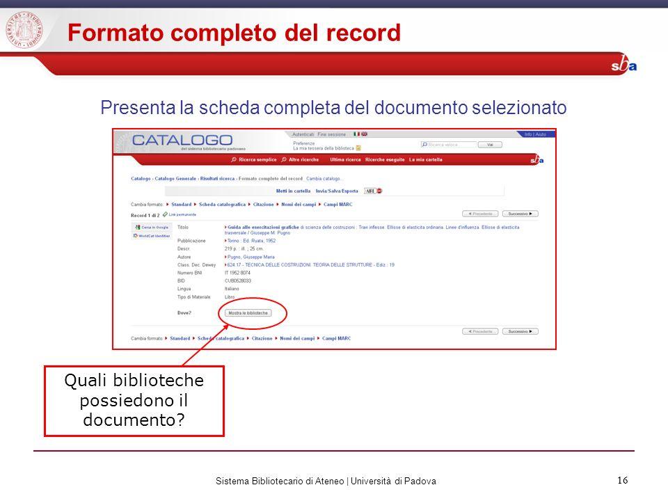 Presenta la scheda completa del documento selezionato