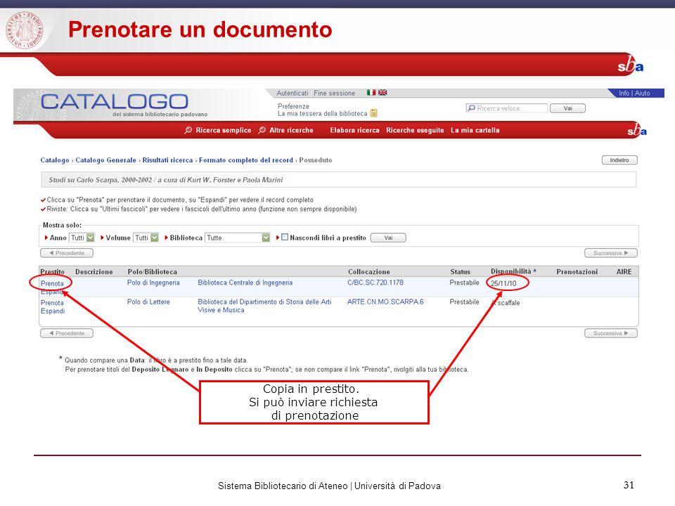 Prenotare un documento