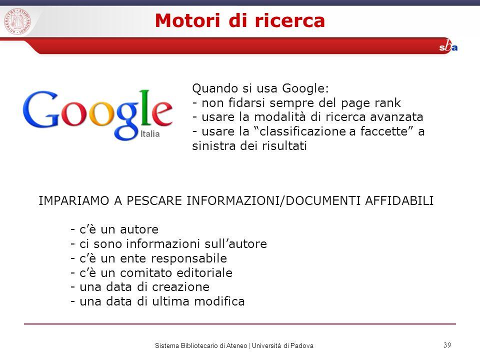 Motori di ricerca Quando si usa Google: