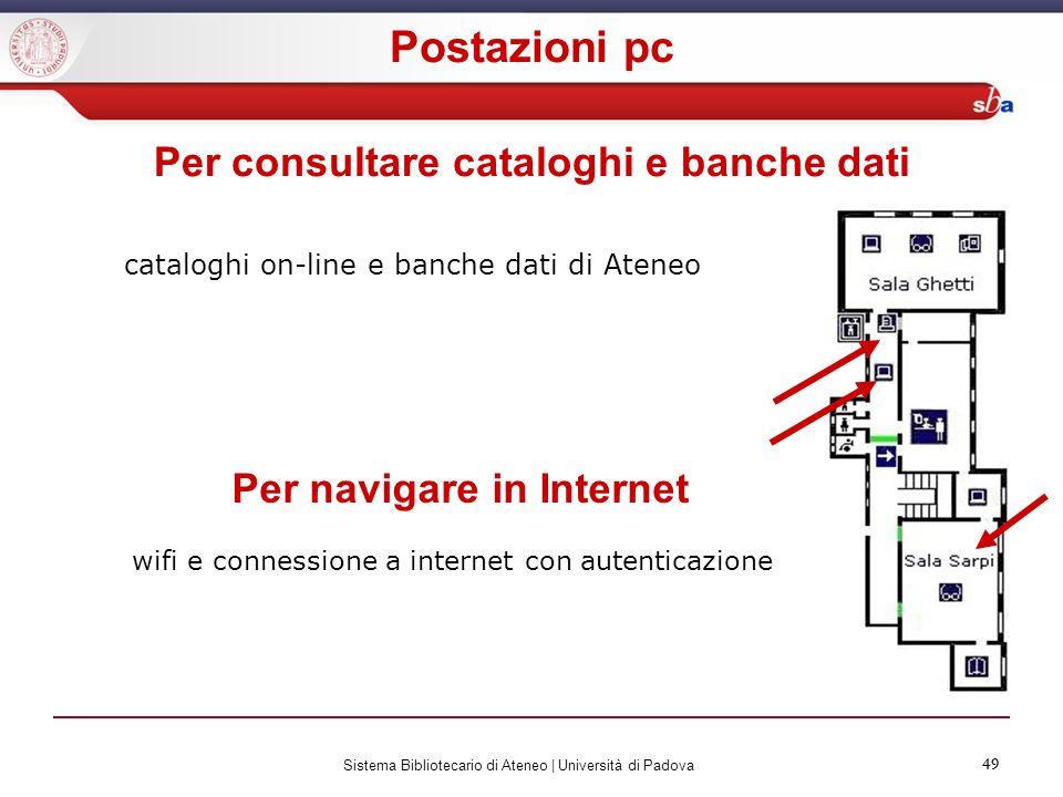Per consultare cataloghi e banche dati Per navigare in Internet