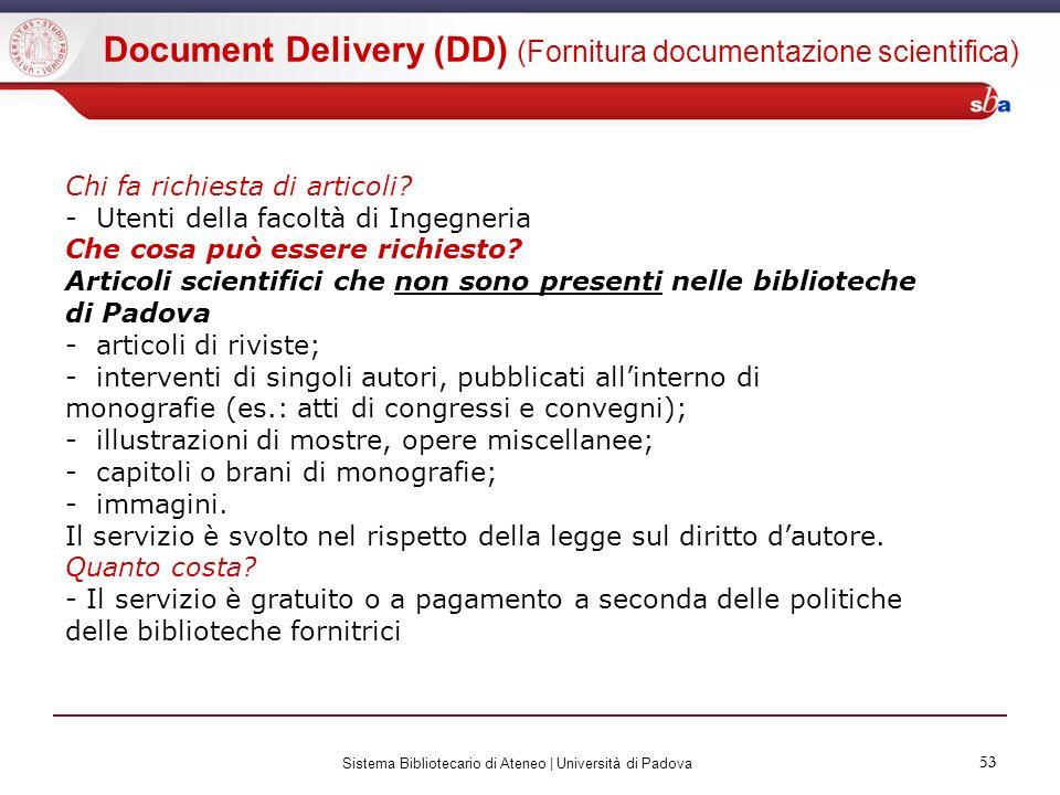 Document Delivery (DD) (Fornitura documentazione scientifica)