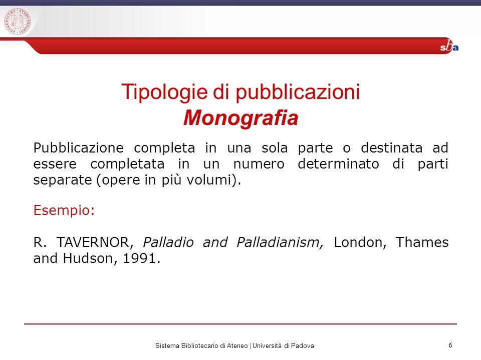 Tipologie di pubblicazioni Monografia