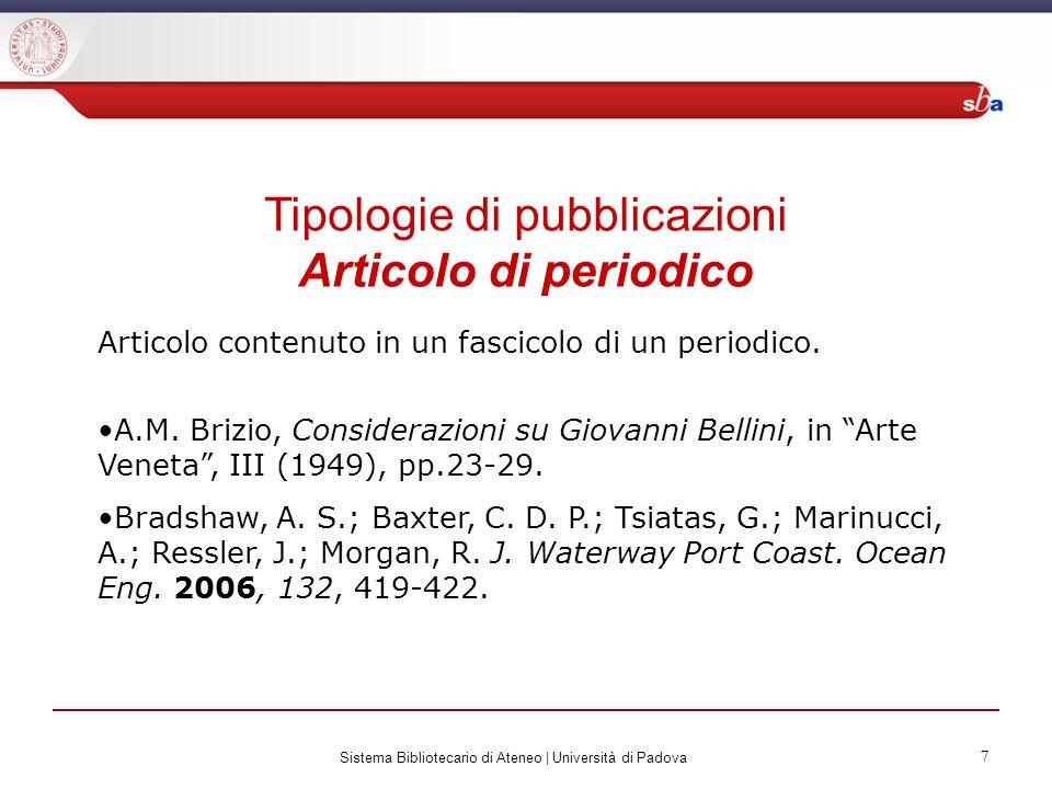Tipologie di pubblicazioni Articolo di periodico