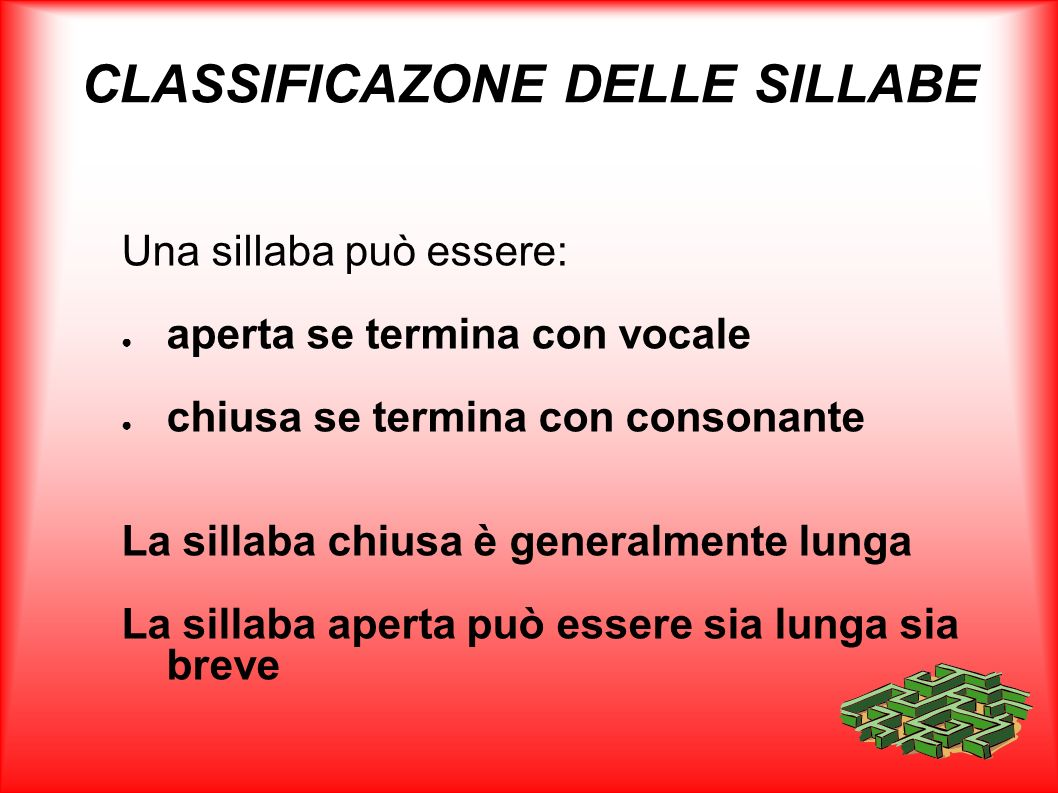 CLASSIFICAZONE DELLE SILLABE