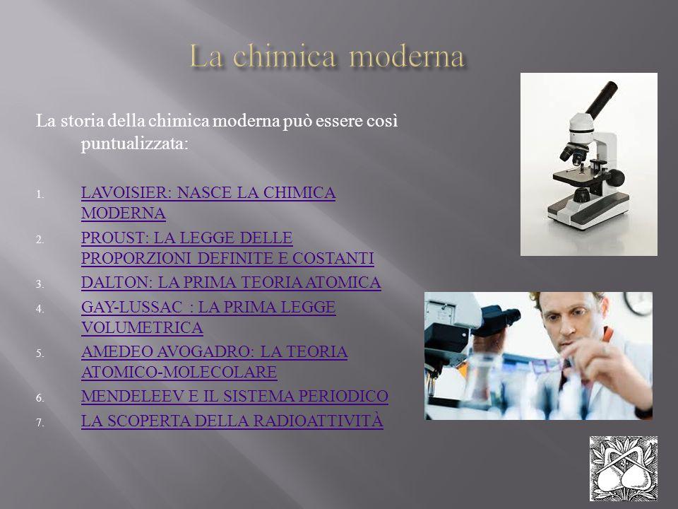 La chimica moderna La storia della chimica moderna può essere così puntualizzata: LAVOISIER: NASCE LA CHIMICA MODERNA.
