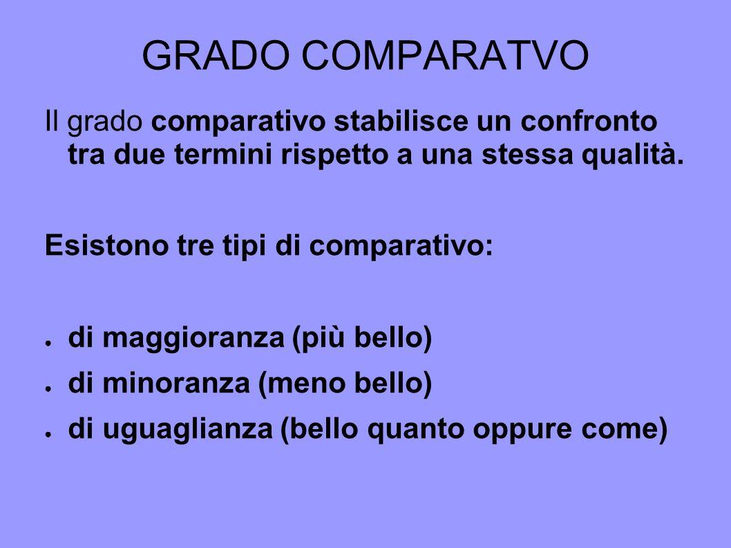 GRADO COMPARATVOIl grado comparativo stabilisce un confronto tra due termini rispetto a una stessa qualità.