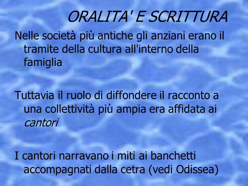 ORALITA E SCRITTURA Nelle società più antiche gli anziani erano il tramite della cultura all interno della famiglia.