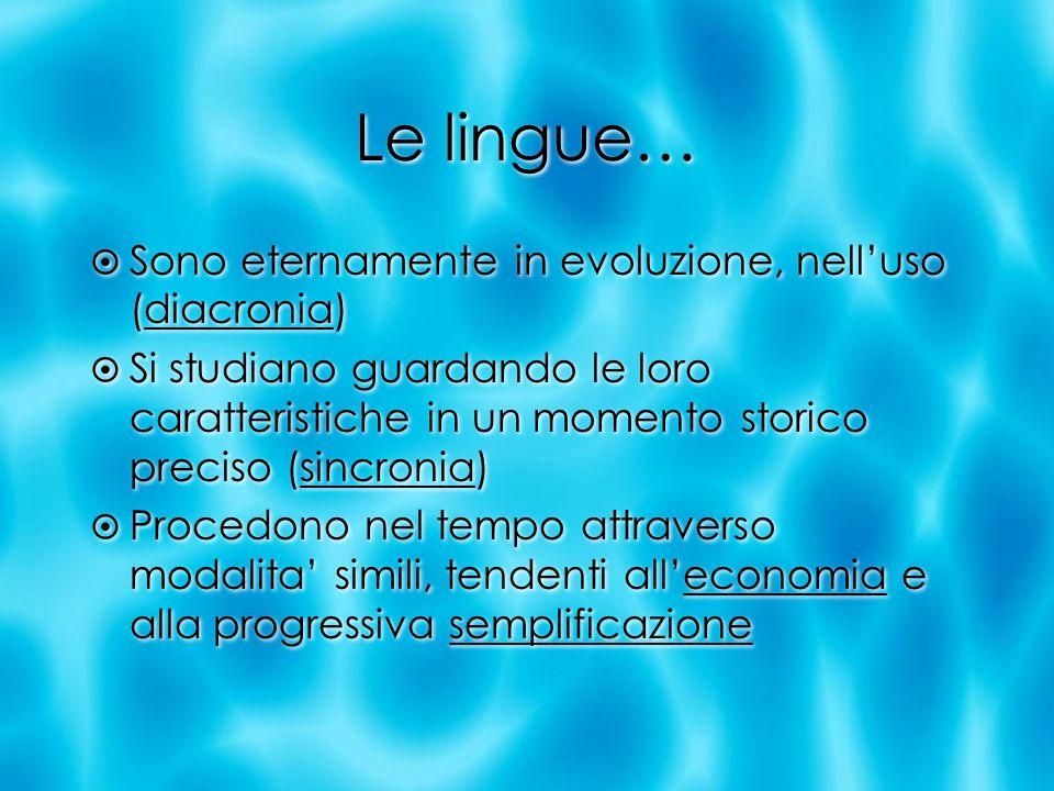 Le lingue… Sono eternamente in evoluzione, nell'uso (diacronia)