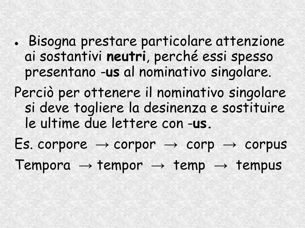Es. corpore → corpor → corp → corpus Tempora → tempor → temp → tempus
