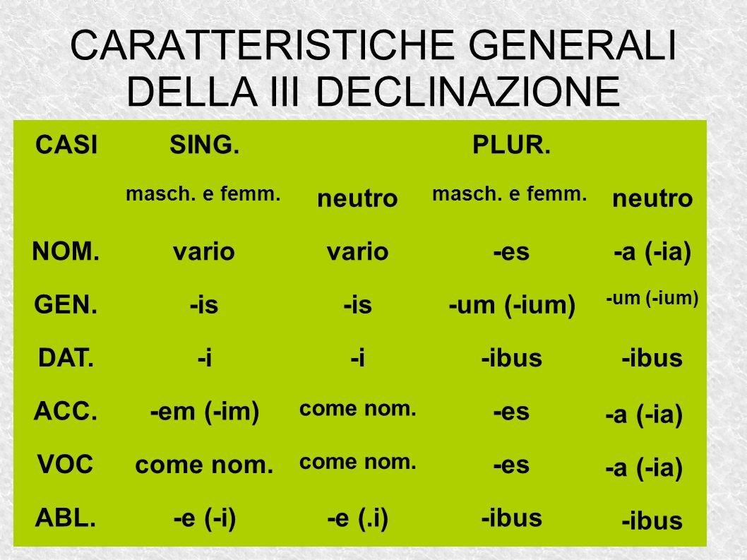 CARATTERISTICHE GENERALI DELLA III DECLINAZIONE