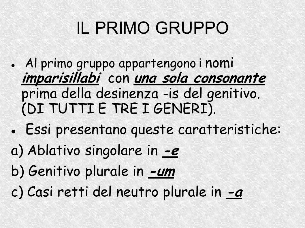 IL PRIMO GRUPPO Essi presentano queste caratteristiche: