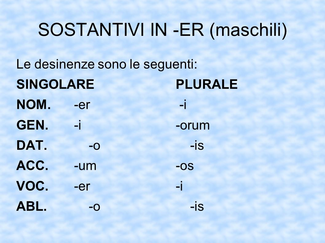 SOSTANTIVI IN -ER (maschili)