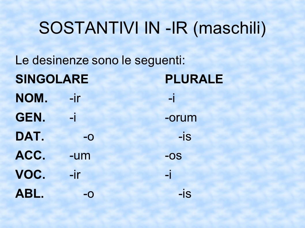 SOSTANTIVI IN -IR (maschili)