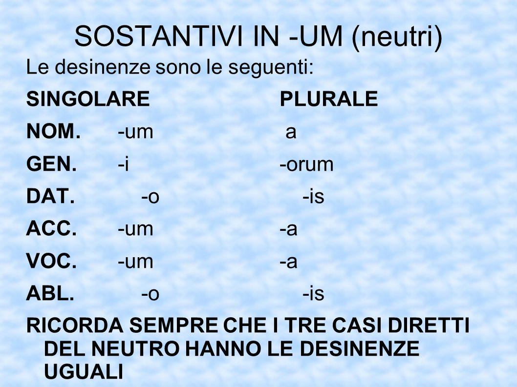 SOSTANTIVI IN -UM (neutri)