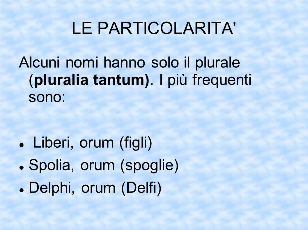 LE PARTICOLARITA Alcuni nomi hanno solo il plurale (pluralia tantum). I più frequenti sono: Liberi, orum (figli)
