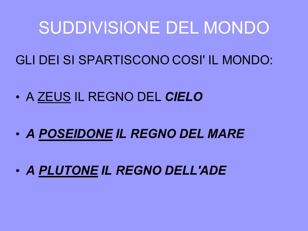 SUDDIVISIONE DEL MONDO