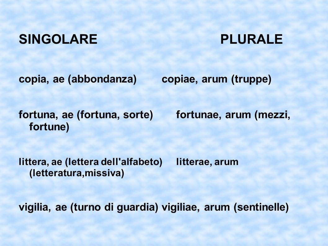 SINGOLARE PLURALE copia, ae (abbondanza) copiae, arum (truppe)
