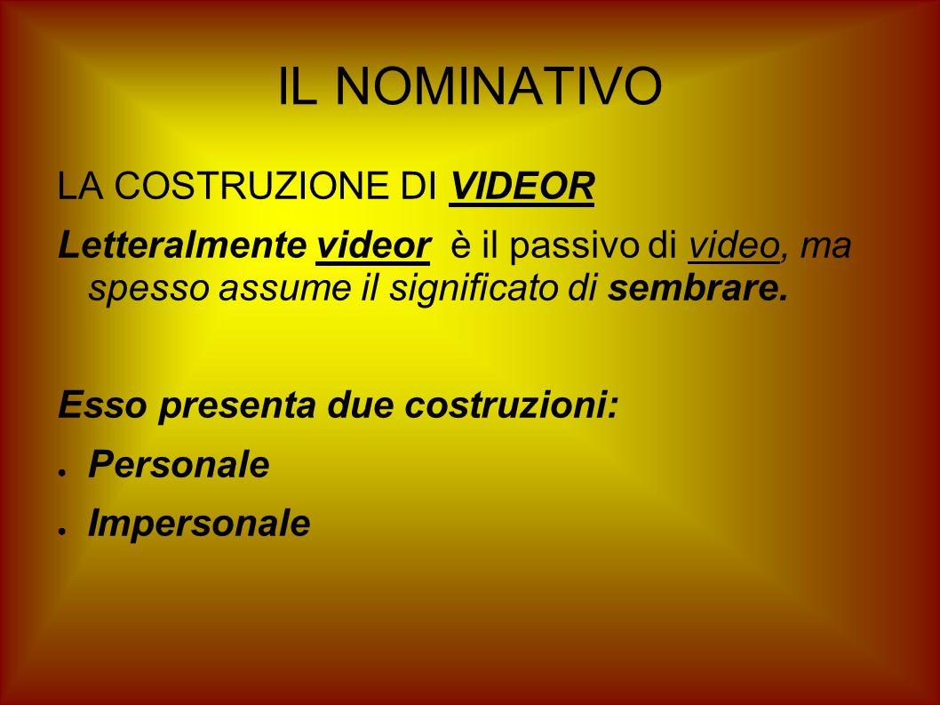 IL NOMINATIVO LA COSTRUZIONE DI VIDEOR