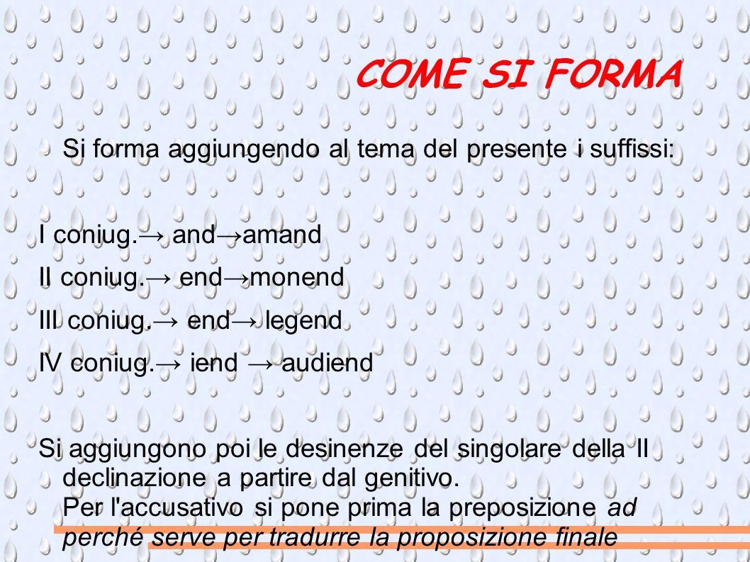 COME SI FORMA Si forma aggiungendo al tema del presente i suffissi:
