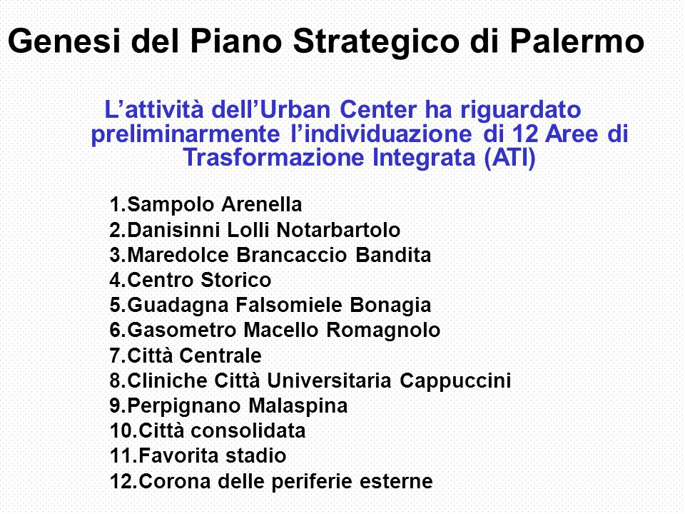Genesi del Piano Strategico di Palermo